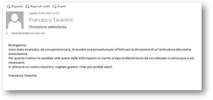 Mail inviata il 31/01/2015 alla Croce Viola Rozzano